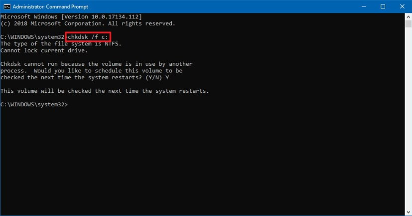 Windows 10 chkdsk command